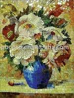 Flower wall murals, glass mosaic flower mural, glass tile mosaic mural patterns