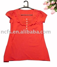 Hot! sell 2013 Newest fashion cotton t-shirt for women, lace on the neck