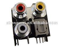 Optical Fiber Type 3 pin RCA JACK Horizontal