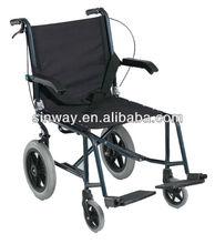 Aluminum transit wheelchair with hand brake