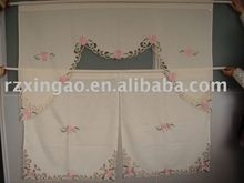latest flower embroidered kitchen curtain