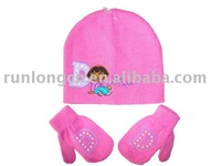 kids winter acrylic knitted set hat and gloves