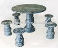 mármore mesa redonda de jantar com cadeiras