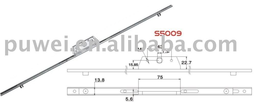 PWS5009 sliding espagnolette rod for PVC window and doorSliding  995 x 405