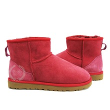2015red suede sheepskin ankle boots