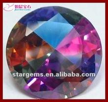 Fancy rainbow round shape cz gems
