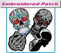Parches bordados- de alta densidad del cráneo de logotipos para la decoración de prendas de vestir( parche/emblema/insignia/etiqueta/cresta/insignia)