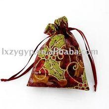 Christmas theme satin gift bags