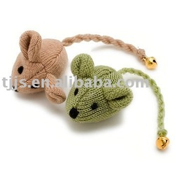 Knitted mice with bell--pet toy