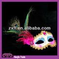 venta caliente de diseño de pvc pluma de pavo real máscara mardi gras máscara