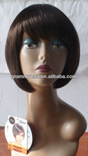 synthetic hair braid and wig long straight hair by hair sewing machine with wefts around