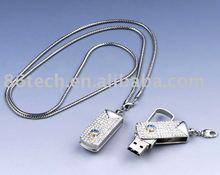 Swivel Diamond USB flash drive, fashion jewelry USB flash drive