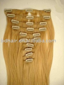 see larger image  100 human straight hair clip in hair extensions