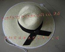 white bleach wheat straw farmers straw hat with balck ribbon