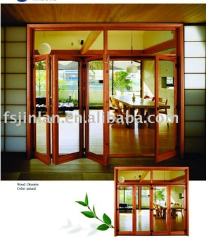 European Folding Solid Wooden Partition Doors Patio Doors