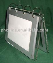 F292 Clear Acrylic 2015 Table Calendar Holder with 4 Iron Circles;2011 Acrylic Desk Calendar Stand