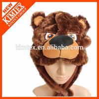 custom winter bear head earflap plush animal hat