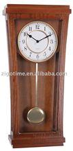 deco brass wood pendulum wall clock with arabic dial