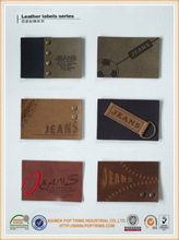 Fashion customized embossed logo Leather patches for jeans