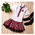 Nova moda 100% algodão uniforme da escola primária de projetos
