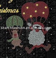 Merry Christmas design iron on hot fix rhinestone motif