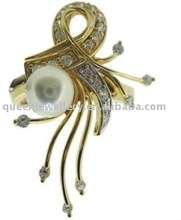 QPHR023 18k gold fine jewelry designs from guangzhou,white pearl rings with small H&A clear CZ