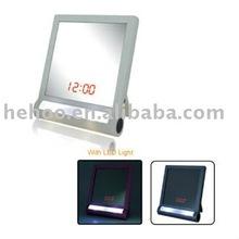 square designer mirrors table clock with