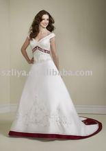 2012 Hotselling V-neck Lace Short Cap Sleeve Taffata Court Train Bridelmaid Dress(SA650)