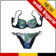 WELLA LINGERIE High Quality Dramatic Peacock Print with Tie Side Strings Sexy Woman Swimwear Bikini