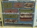 antigo pintado de madeira de pinho de móveis móveis rústicos de madeira