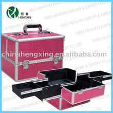 pink Aluminum cosmetic case designer hard makeup case metal makeup case