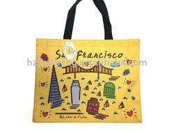 Cheap high quality nice printing yellow city souvenir bags