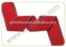 Red Polyethylene Flocked Silver Wire-Edged Velvet Ribbon,Xmas Holiday Decoration