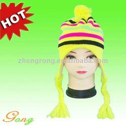 Hot Sale 100% Acrylic Winter Knitted Ear Cap