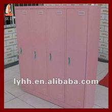 Pink powder coated color 4 door metal armoire