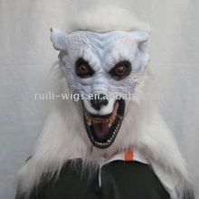 Scary Hot Selling Animal White Wolf Head Latex Hallowee Mask /holiday decorations