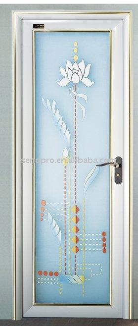 Verre d coratif en alliage d 39 aluminium porte des toilettes - Porte salle de bain en verre ...