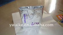 metallic effect silver non wove tote bag