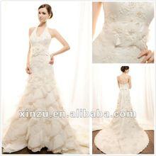 Elegant Halter Sheath Layered Long Tail Lace Wedding Dress Low Back