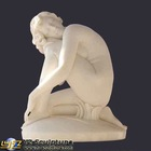 Elegant Carved Lady Marble Statues