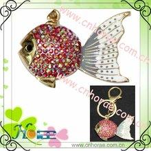 fashion fish shape rhinestone pendant,key chain pendant