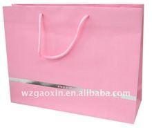 fashion pink paper bag with logo sliver hot foil