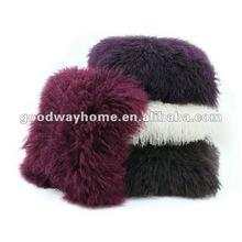 Mongolian Fur Cushion, with Real Lamb Fur