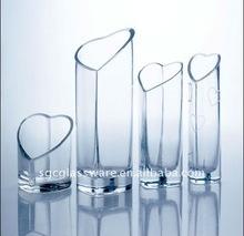 heart shape crystal clear glass vase