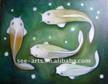 handmade fish oil painting on canvas