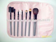 New fashion 7pcs Black colour nylon hair wooden handle mini travel cosmetic brush set