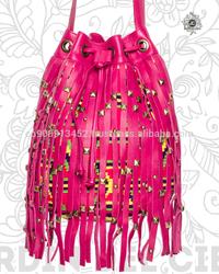 Bohemian Leather & Fringes Wayuu Mochila Handbag by Jardin del Cielo