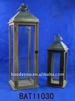 Hanging Wooden lantern stander and Metal top lantern and glass lantern