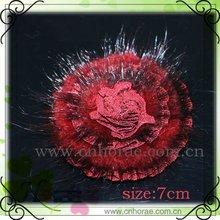 red mink fur decoration flower, rabbit fur flower