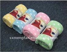 Rib Dots Print Micro Polyester Ploar Fleece Blanket/Throw